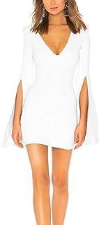 JLCNCUE Women's Sexy V Neck Party Dress Flounce Bell Sleeve Shift Dress Mini Dress 71716
