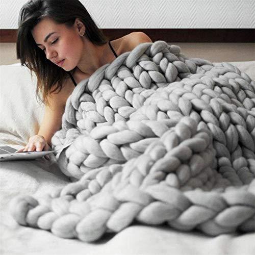 Gestrickte Decke, Grobe Strickdecke Wolle Garn Arm Stricken werfen Super große klobige Stricken Decke Haustier Bett Stuhl Sofa Yoga Matte Teppich (Hellgrau,120 * 180cm)