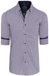 Tarocash Men's Ethan Stretch Check Shirt Regular Fit Long Sleeve Sizes XS-5XL for Going Out Smart Occasionwear