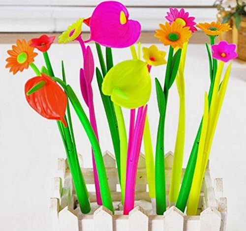 KELER Black Ink Pen Novelty Design Plant Flowers Neutral Ballpoint Pen Pack of 6