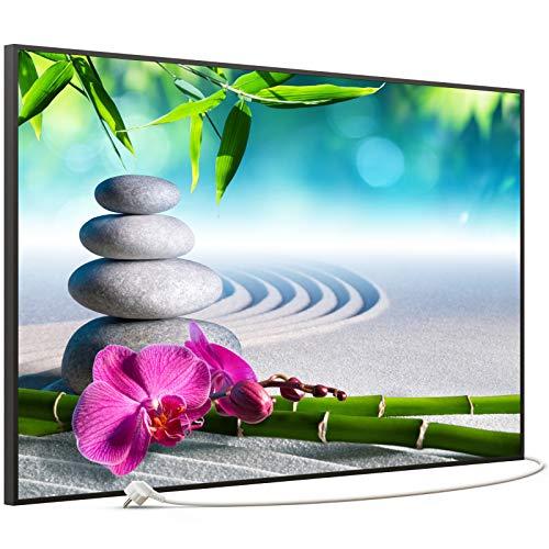 STEINFELD Bild Infrarotheizung mit Thermostat | Made in Germany | viele Motive 350-1200 Watt Rahmen schwarz (900W, 059 Zen-garten)