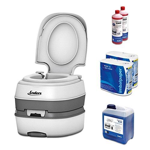 Campingtoilette Starter-Set Blue 5,0 Enders Deluxe [ 4994 ]: inkl. Sanitärflüssigkeit und WC Papier - mobile Chemietoilette Campingklo Camping-Toilette