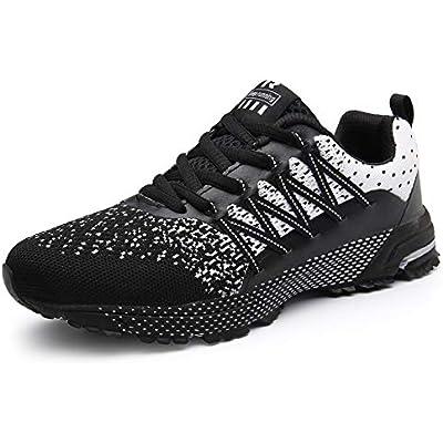 SOLLOMENSI Zapatillas de Deporte Hombres Running Zapatos para Correr Gimnasio Sneakers Deportivas Padel Transpirables Casual Montaña 35 EU A Negro