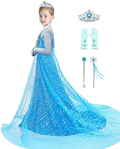 Bestier Girls Princess Dress Costume - Luxury Sequin Birthday Party Dress Up Girls 2-10 Years (Blue, 4-5 Years)