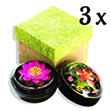 Seifenblume in Mangoholzbox, handgemacht, 8 x 8 x 8 cm, in Geschenkbox, 3 Stück
