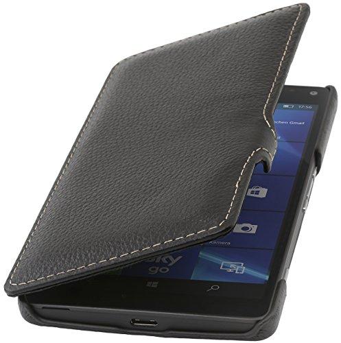 StilGut Book Type Hülle mit Clip, Hülle aus Leder für Microsoft Lumia 950 XL / 950 XL Dual SIM, schwarz