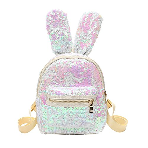 Demiawaking Mini Zaino con Paillettes Borse a Tracolla con Orecchie di Coniglio Carine Borsa da Viaggio per Ragazze (Bianco+rosa)