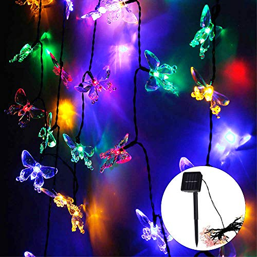 50 Led Butterfly Solar Lights Outdoor Solar Powered String Light,Butterfly Fairy Garden Lights, Outdoor Waterproof Lighting for Lawn Patio Wedding Party Decor 7m