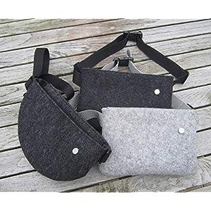 zigbaxx Hip Bag, Gürteltasche, Crossbody Bag Tasche, Bauchtasche, Hüfttasche, Belt Bag, Brusttasche – Woll-Filz schwarz…