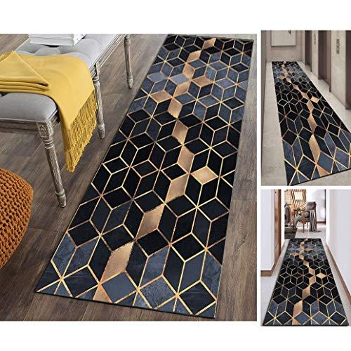 Hciszl Luxury Läufer Teppich Flur 80x150cm Korridor Kurzflor Brücke Modern rutschfest Waschbar Geometrisch Gitter Muster, Benutzerdefinierte Länge