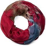 styleBREAKER écharpe snood, effet splatter, avec des motifs en taches, des points et des traits, batik, écharpe, toile, pour femmes 01017036, couleur:Rouge-Brun-Bleu-Beige