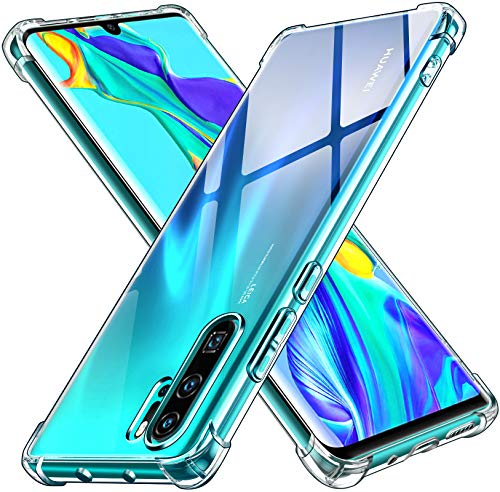 ivoler Funda para Huawei P30 Pro/Huawei P30 Pro New Edition, Carcasa Protectora Antigolpes Transparente con Cojín Esquina Parachoques, Flexible Suave TPU Silicona Caso Delgada Anti-Choques Case