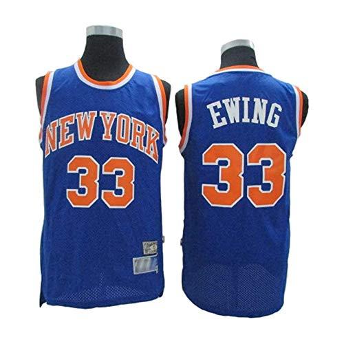 YB-DB NBA Basketball Jersey NBA # 33 Patrick Ewing New York Knicks Breathverschleißfeste Fan Edition Basketball-Trikot Fitness Sport-T-Shirt,Blau,M