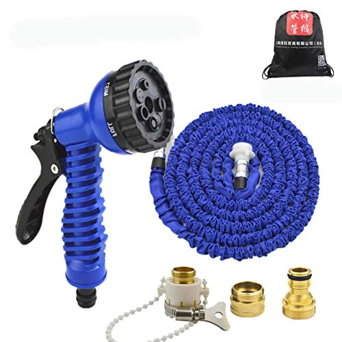 Spray Nozzle Expanding Garden Hose,7-Pattern High-Pressure Water Hose Car wash Hose Stretching Kink Free Watering Flower with Holder Best for Outdoor Watering-B 15m(590.5inch)