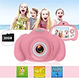 Kids Camera Toys for Girls,IPS HD Screen Dual Lens Child Camera Video Recorder,Music Player Fun Games Great Gifts for Boys(Included 32GB SD Card)