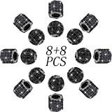16 Pieces Rhinestone Spacer Beads Zircon Pave Charms Beads Pave Beads 8 mm Round Ball Rhinestone Beads Hexagon Big Hole Bracelet Connector for Chain Charms Bracelets DIY Jewelry Making (Black-Black)
