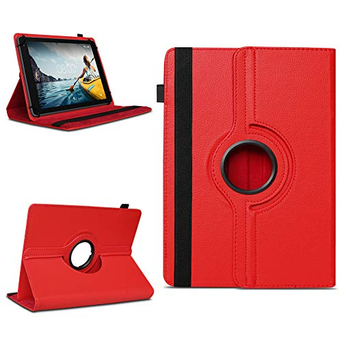 NAUC Tablettasche kompatibel für Medion Lifetab E10714 E10430 E10414 E10604 E10412 E10511 E10513 Tablet Tasche Hülle Universal Schutzhülle Drehbar, Farben:Rot