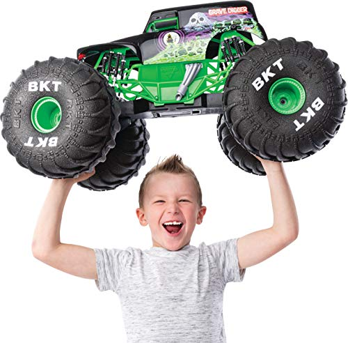 Monster Jam Official Mega Grave Digger All-Terrain Remote Control Monster Truck with Lights, 1:6 Scale