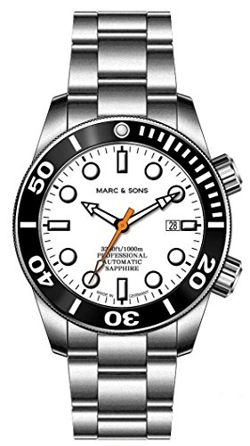 MARC & SONS 1000 M - Orologio automatico subacqueo, vetro zaffiro, valvola...