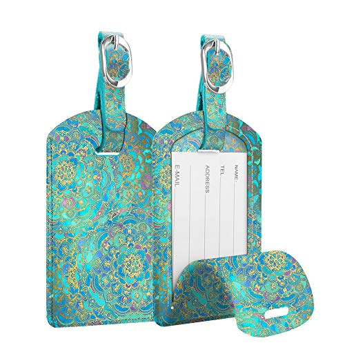 2 Pack Luggage Tags, Fintie PU Leather Name ID Labels with Privacy Cover for Travel Bag Suitcase (Shades of Blue)