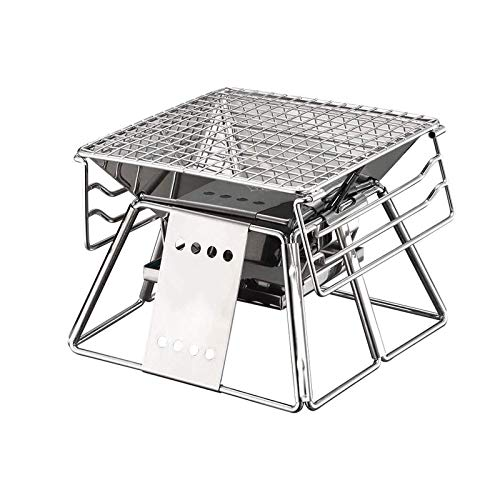 Charcoal Grill Barbecue Portable BBQ Stainless Steel Folding Grill Tabletop Outdoor Smoker BBQ for Picnic Garden Terrace Travel WTZ012