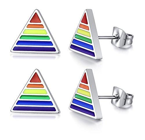 PJ Gay Pride Lesbian Equality Triangle Rainbow Stud Earrings in Stainless Steel