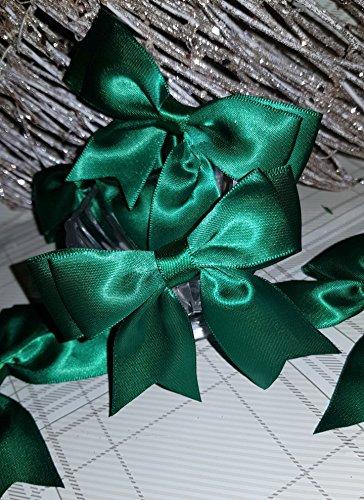 RIbbon Queen 5 satijnen lint pre-gebonden 8,5 cm brede dubbele strikken roze blauw wit ivoor rood, zwart, lint - in merkverpakking voor haar, sierlijsten, bruiloft (bos groen, pak van 5 strikken)
