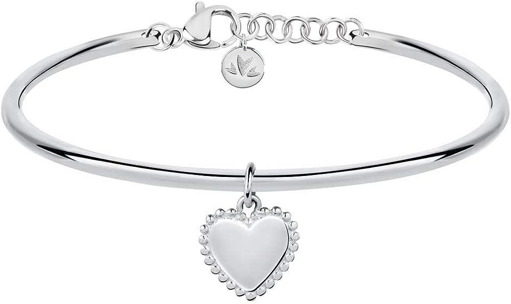 Morellato bracciale da donna collezione cerchi in acciaio con ciondolo a forma di cuore SAKM59
