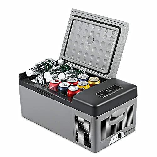 LHK Refrigerador portátil, Mini Frigorífico Congelador con compresor, Máquina de Fabricación de Hielo Encimitop eléctrica, Coche Dual-Uso, para Conducir, Viajar, Pesca, Al Aire Libre