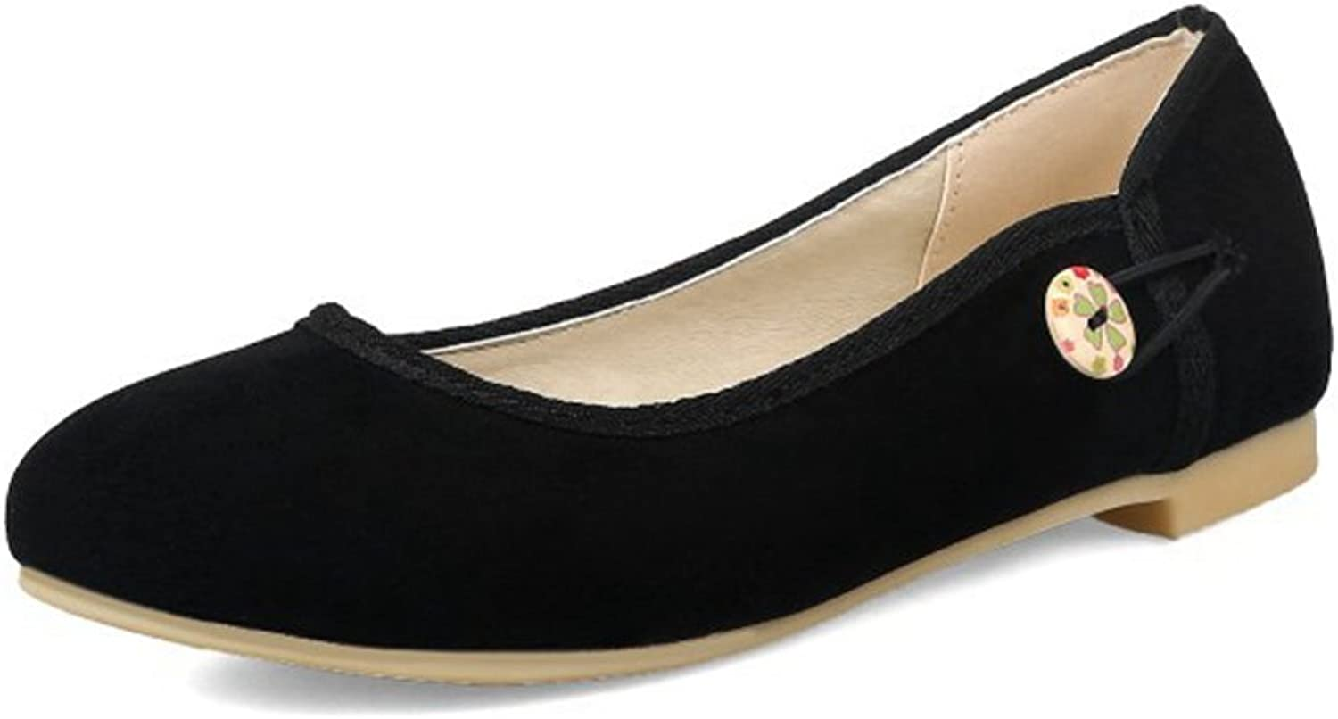 Women's Casual Suede Ballet Flats Round Head Walking Dress shoes Slip-on Loafers Soft & Breathable