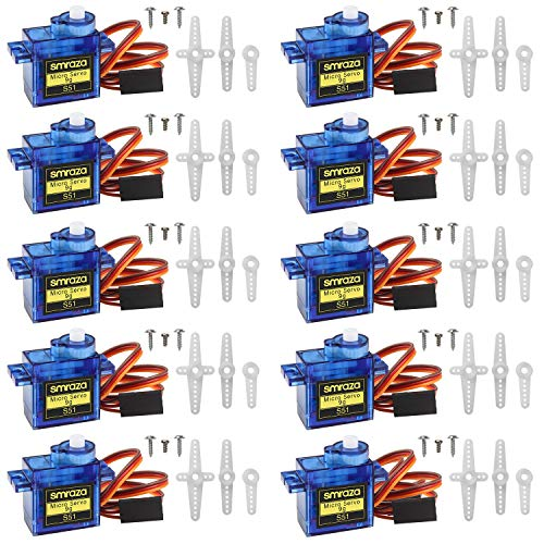 Smraza 10 Pcs SG90 9G Micro Servo Motor Kit for RC Robot Arm/Hand/Walking Helicopter Airplane Car Boat Control with Cable, Mini Servos Arduino Project
