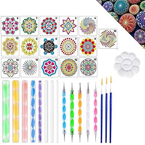 Guangzhou 33Pcs / Set Mandala Dotting Pen Tools Set pour Peinture Pierre Céramique avec Pochoirs Modèle Peint