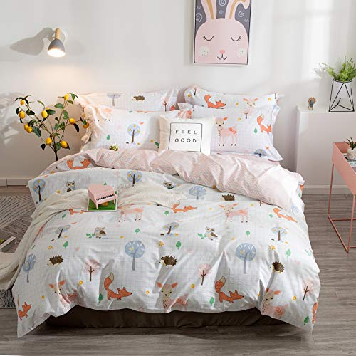 BuLuTu Animal Duvet Cover Queen White 100% Cotton,3 Pieces Woodland Kids Bedding Sets Full for Boys Girls,Hedgehog Fox Deer Owl Print Queen Duvet Cover and 2 Pillowcases,No Comforter