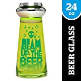 BigMouth Inc. Beam Up the Beer UFO Beer Glass – Holds 24 oz of Beer – Funny and Unique Beer Glass with Alien Theme, Made of Glass, Makes a Great Gift Idea
