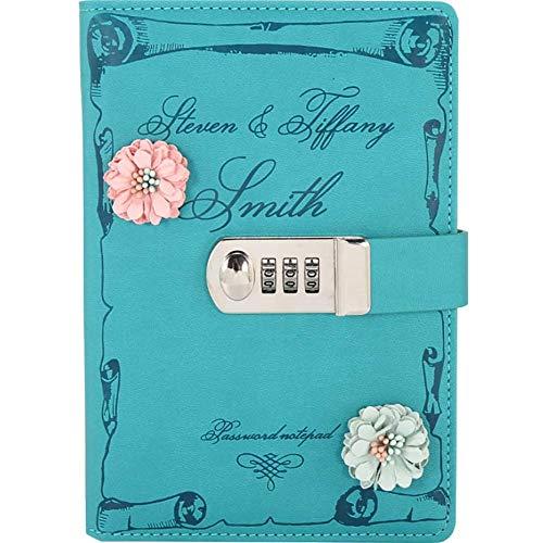 PU de cuero del libro Diario Con Flor, Cuaderno Cuaderno Sketchbook Diario proyectista, secreto forrado contraseña diario boceto con soporte de pasador de cerradura de combinación x ( Color :