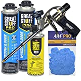 AWP PRO Window and Door Kit - Great Stuff Pro Window & Door Polyurethane Foam Sealant 20 oz cans (12) - AWF Pro Foam Gun (1) - Great Stuff Pro Foam Gun Cleaner (2) - Low Expansion, Insulating Foam
