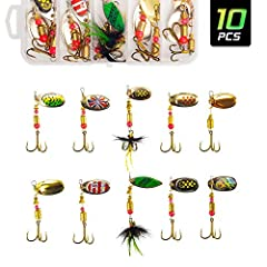 🎣【AKATAKA FISHING SPINNER BAITS LURES SET WITH TACKLE BOX】: 10pcs fishing lures set with tackle box makes it convenient to use and restock.Size range:1.97-2.56inches; Weight range: 0.12-0.17oz. Kinds of sizes for choices, better to catch bigger fish....