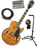 Ibanez akjv90ddal AKJ Artcore Vintage en estilo expresionista guitarra eléctrica oscuro ámbar bajo brillante w/cable, geartree gamuza, soporte, y sintonizador