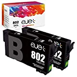 ejet Remanufactured Ink Cartridge Replacement for Epson 802XL 802 T802XL T802 to use with Workforce Pro WF-4720 WF-4730 WF-4734 WF-4740 EC-4020 Printer (2 Black)