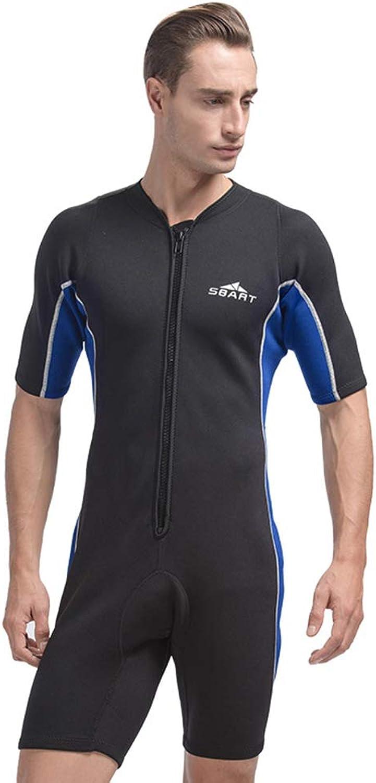 Herren Short Front Zip 2mm Neoprenanzug UV-Schutz Bademode für Open Water Schwimmen,schwarz,M