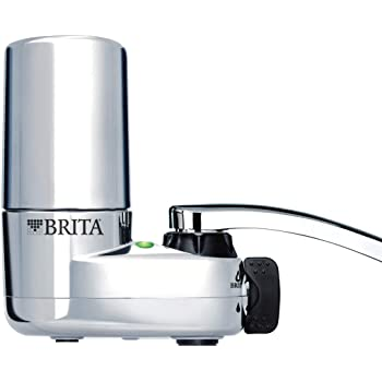 Brita 10060258356189 35618 Tap Water Filtration System (Fits Standard Faucets, Single Unit, Chrome w/Indicator
