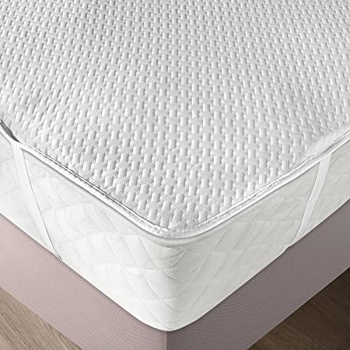 Ambesonne Mattress Protector Waterproof Breathable Sheet with Straps Fitted Bed Cover, Twin