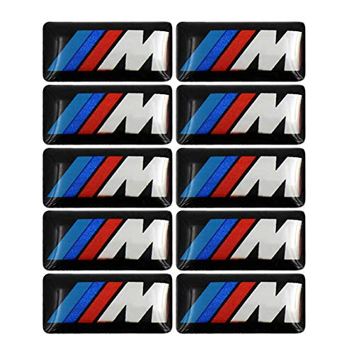 YDZXB 10pcs M Badge Tir Color Rear Emblems Fender Side Emblems for BMW - 3D Decal Nameplate Car Decal Logo Sticker Fit for All BMW Genuine M Badge Alloy Wheel Adhesive Sticker Emblem (11x19mm)