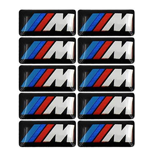 YDZXB 10 piezas M insignias traseras de color Tir Fender Side Emblemas para BMW – 3D calcomanía para placa de coche calcomanía para todos BMW genuino M insignia de aleación de BMW 7 x 16 mm