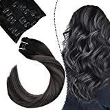Ugeat 22 Inch Clip Hair Extension Remy Human Hair 120Gram 10PCS Balayage #1B Black OmbreBlack with Silver Double Weft Clip in Hair Extensions