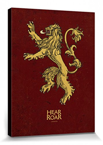 1art1 Juego De Tronos - Casa Lannister, Blasón, Oye Mi Rugido Cuadro, Lienzo Montado sobre Bastidor (80 x 60cm)