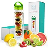 Savvy Infusion Water Bottles - Fruit Infuser Bottle with Unique Leak Proof Silicone Sealed Cap - Perfect for Runs, Walks, Hikes, and Outdoor Activities - Dishwasher Safe made with Tritan Shatter Proof Plastic - Great Gift for Women - 32 oz Green