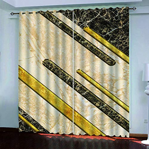 YUNSW 3D Marble Printing Curtains, 2-Piece Perforated Curtains, Shading Insulation (Hot/Cold) Living Room Bedroom Kitchen Garden