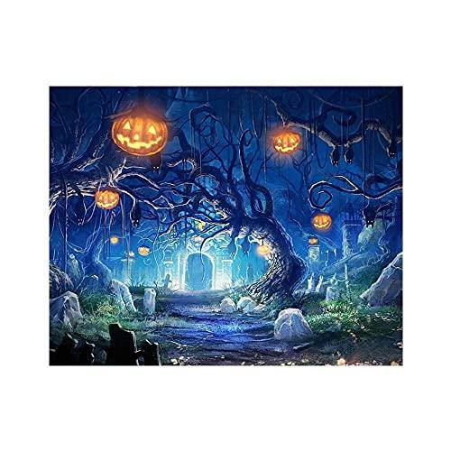 Kit de punto de cruz Bordado Imagen Personaje Combinación de Halloween 14CT 40x50cm Kit de bordado numerado Aguja e hilo de bricolaje Bordado preimpreso Decoración del hogar