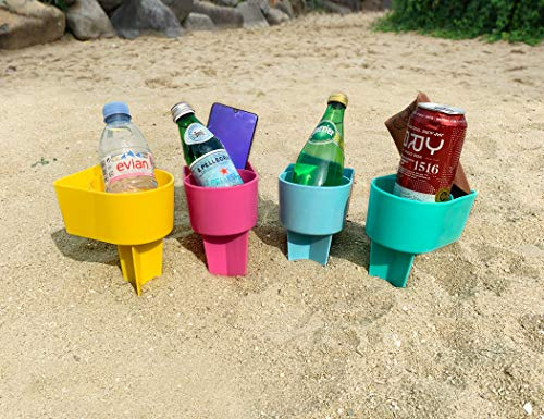 Rama Rose Beach Cup Holder with Pocket, Multifunctional Sand Cup Holder for Beverage Phone Sunglass Key, Beach Accessory Drink Sand Coaster, 4PCS (Pink, Teal, Yellow and Blue)